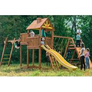 Игровая деревянная площадка - ВЫШЕ ВСЕХ ПОБЕДА ВЕРТИКАЛЬ, стол с лавочками, горка, качели, скалодром, сетка, чердак с крышей, фото 1